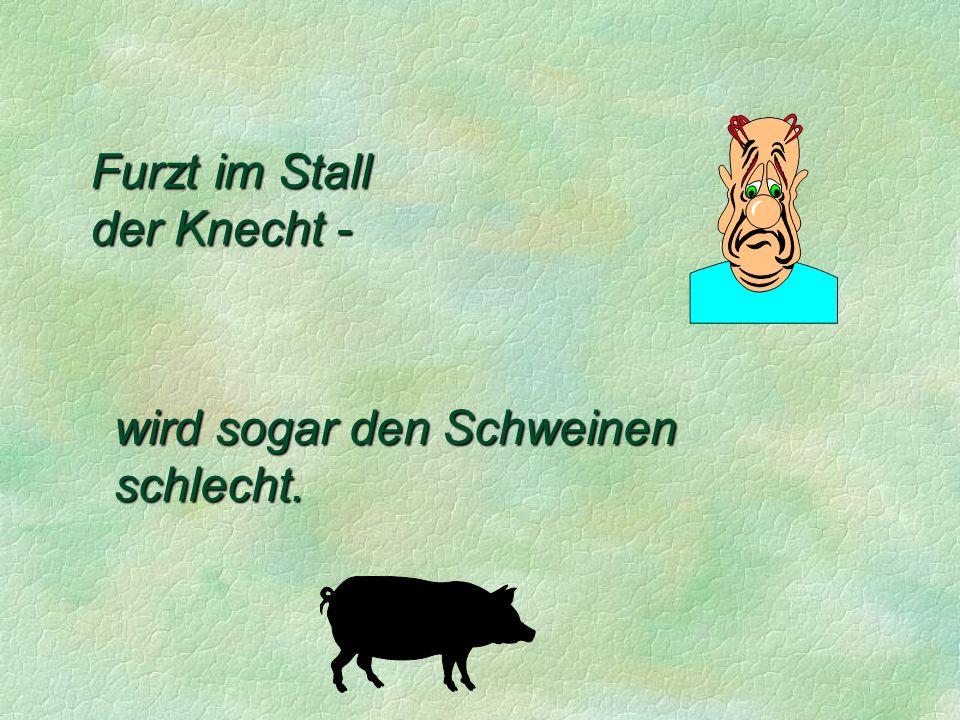 Furzt im Stall der Knecht - wird sogar den Schweinen schlecht.