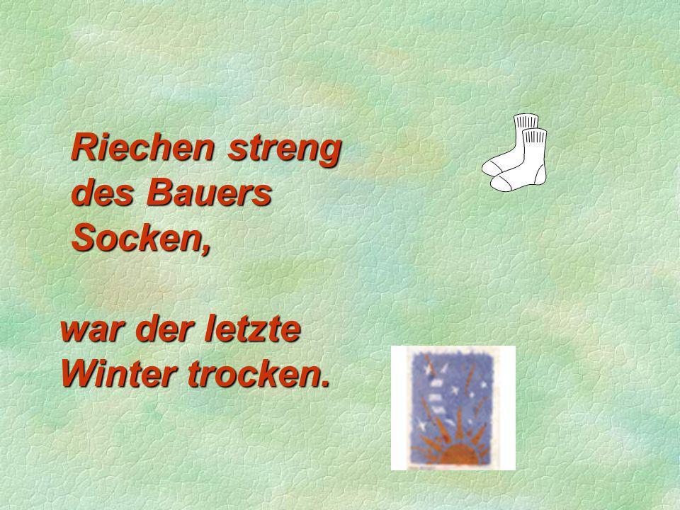 Riechen streng des Bauers Socken,