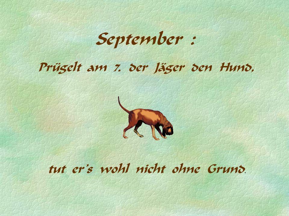 September : Prügelt am 7. der Jäger den Hund,
