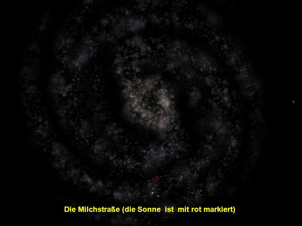 Die Milchstraße (die Sonne ist mit rot markiert)