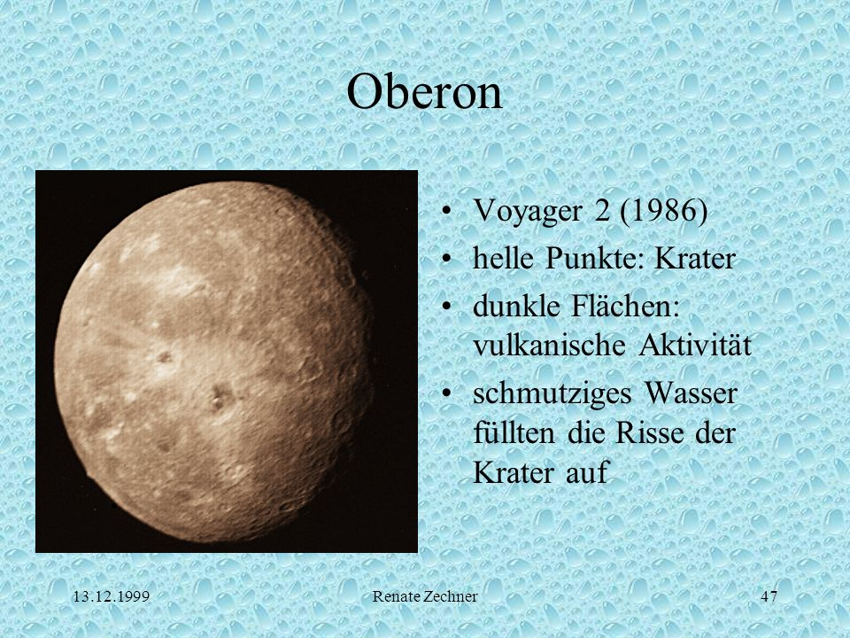 Oberon Voyager 2 (1986) helle Punkte: Krater