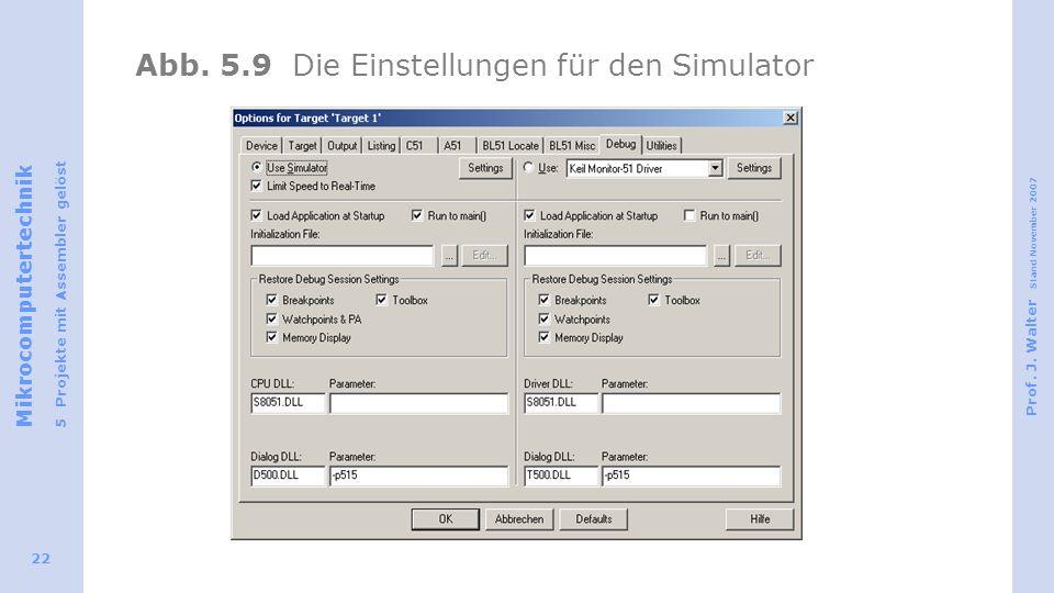Abb. 5.9 Die Einstellungen für den Simulator