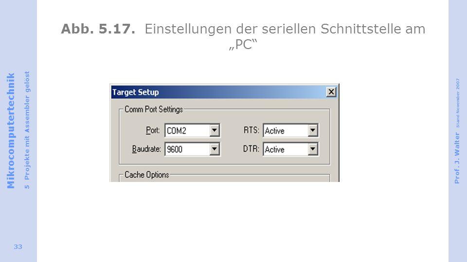 """Abb. 5.17. Einstellungen der seriellen Schnittstelle am """"PC"""