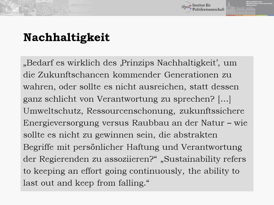 """Nachhaltigkeit """"Bedarf es wirklich des 'Prinzips Nachhaltigkeit', um"""