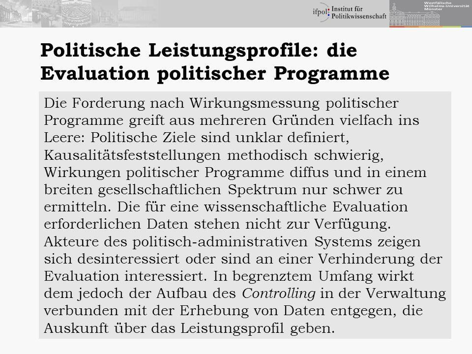 Politische Leistungsprofile: die Evaluation politischer Programme