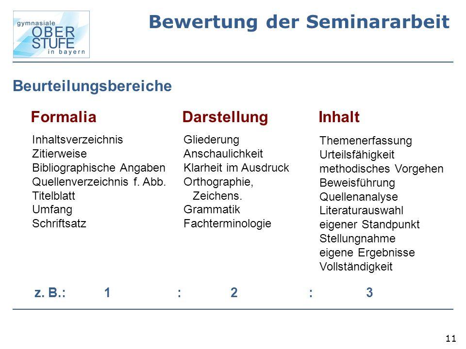 Bewertung der Seminararbeit