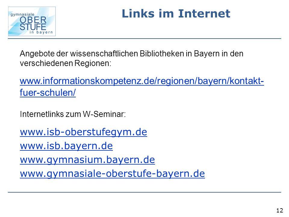 Links im Internet Angebote der wissenschaftlichen Bibliotheken in Bayern in den verschiedenen Regionen: