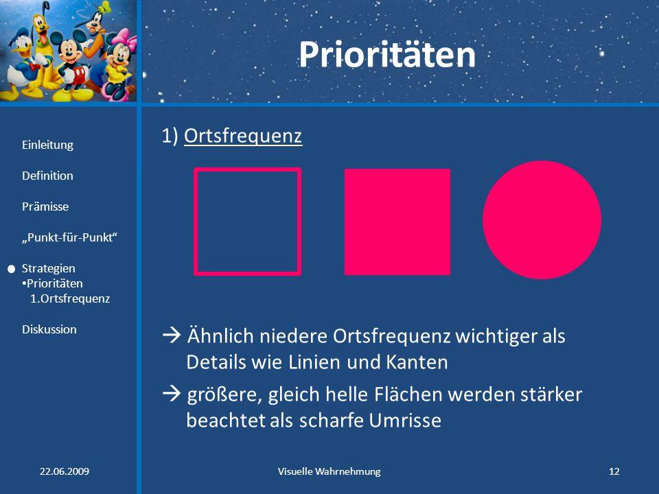Prioritäten 1) Ortsfrequenz