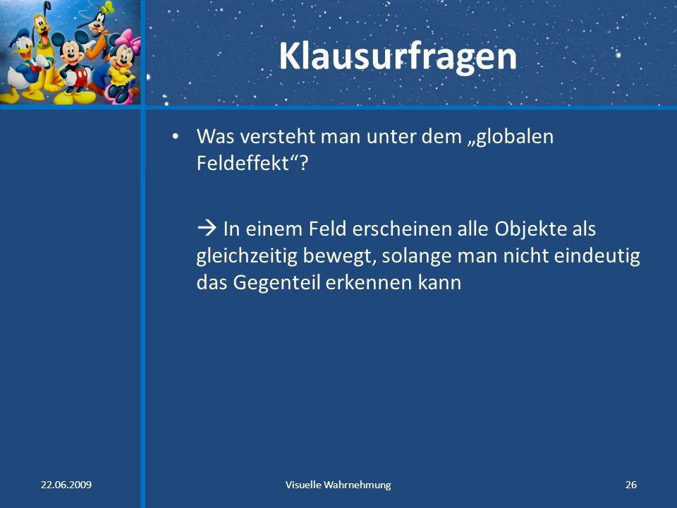 """Klausurfragen Was versteht man unter dem """"globalen Feldeffekt"""