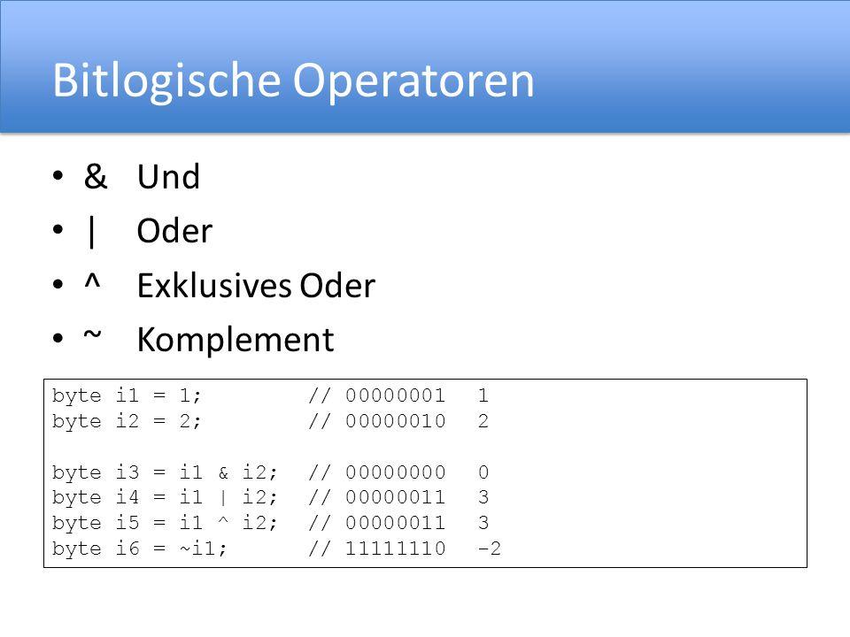 Bitlogische Operatoren
