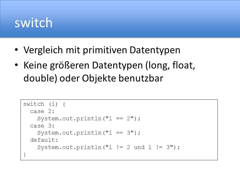 switch Vergleich mit primitiven Datentypen