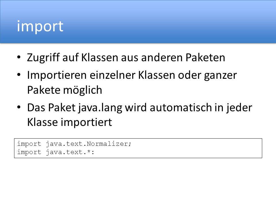 import Zugriff auf Klassen aus anderen Paketen