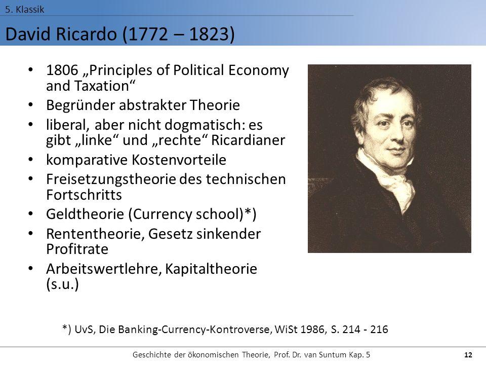 Geschichte der ökonomischen Theorie, Prof. Dr. van Suntum Kap. 5