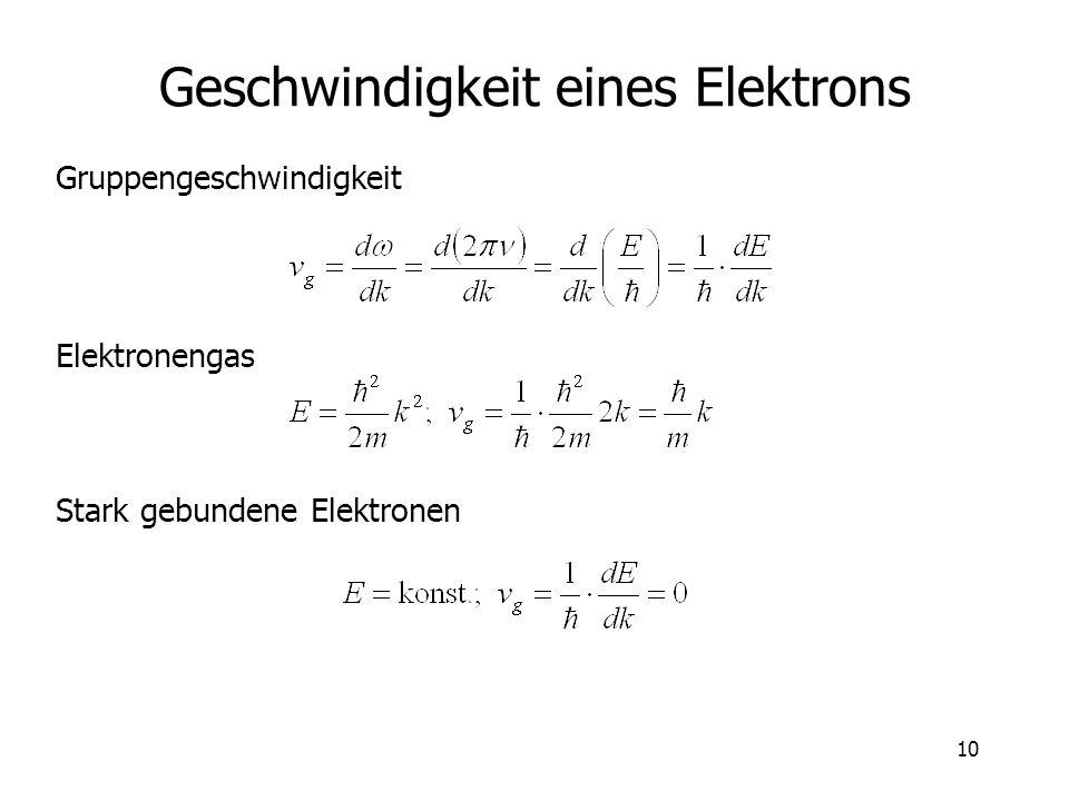 Geschwindigkeit eines Elektrons