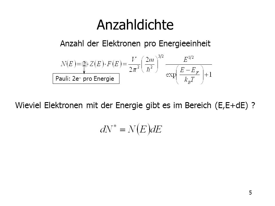 Anzahldichte Anzahl der Elektronen pro Energieeinheit