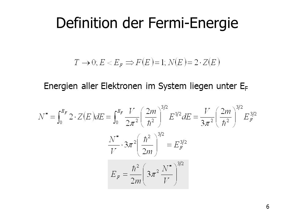 Definition der Fermi-Energie