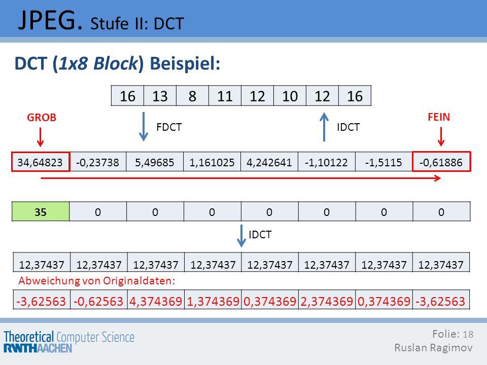 JPEG. Stufe II: DCT DCT (1x8 Block) Beispiel: 16 13 8 11 12 10
