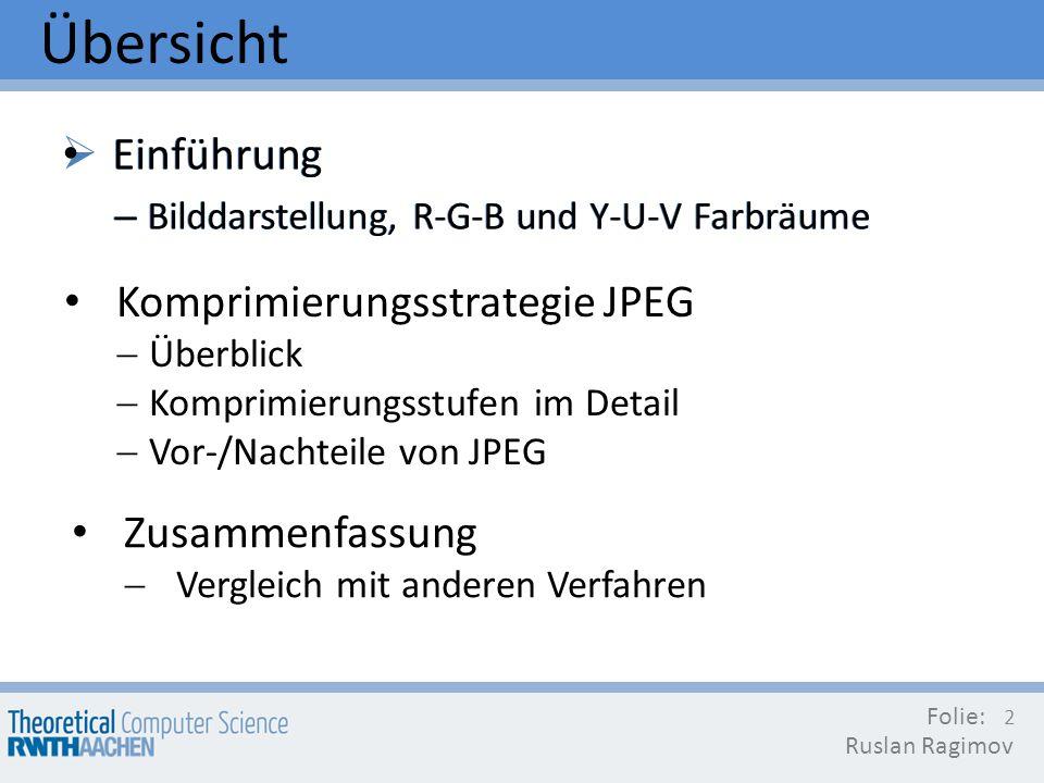 Übersicht Einführung Einführung Komprimierungsstrategie JPEG
