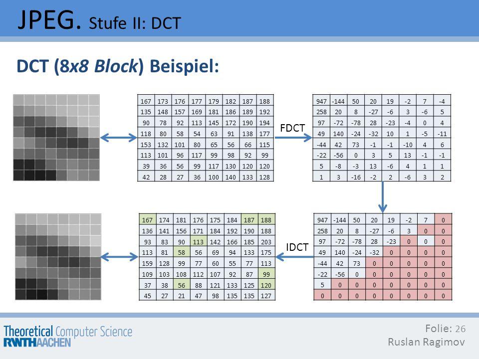 JPEG. Stufe II: DCT DCT (8x8 Block) Beispiel: FDCT IDCT Folie: