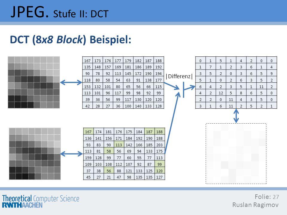 JPEG. Stufe II: DCT DCT (8x8 Block) Beispiel: Folie: Ruslan Ragimov