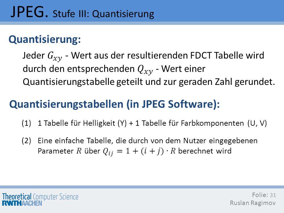 JPEG. Stufe III: Quantisierung