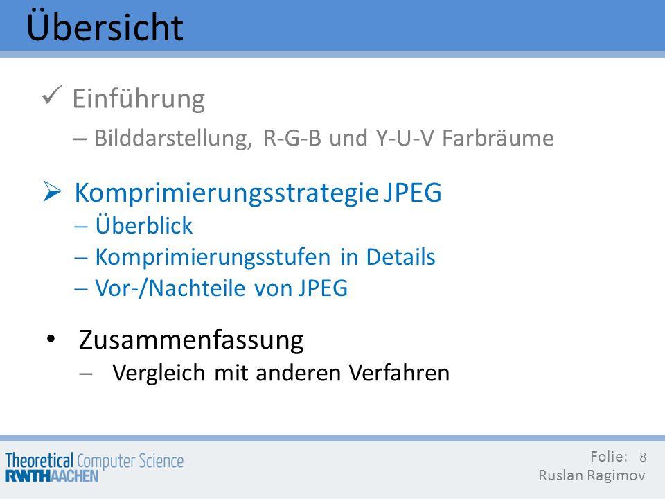 Übersicht Einführung Komprimierungsstrategie JPEG Zusammenfassung