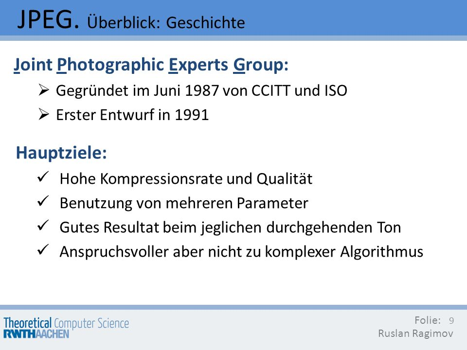 JPEG. Überblick: Geschichte