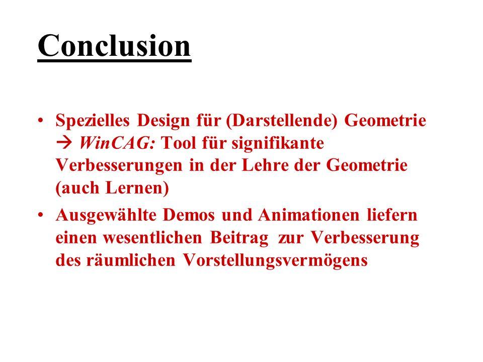 Conclusion Spezielles Design für (Darstellende) Geometrie  WinCAG: Tool für signifikante Verbesserungen in der Lehre der Geometrie (auch Lernen)