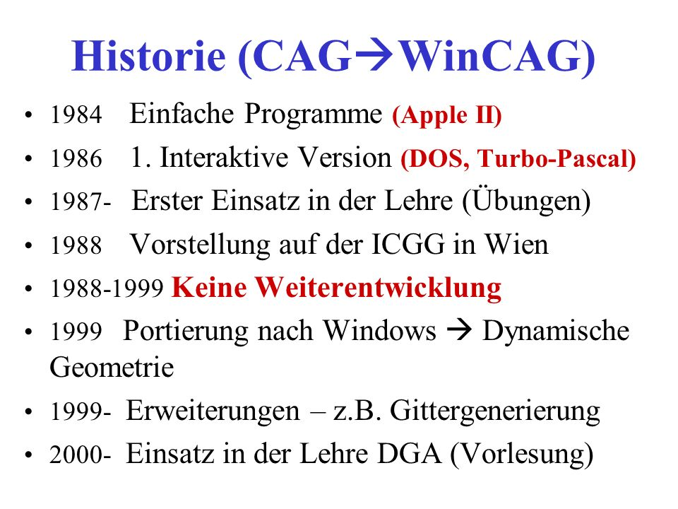 Historie (CAGWinCAG)