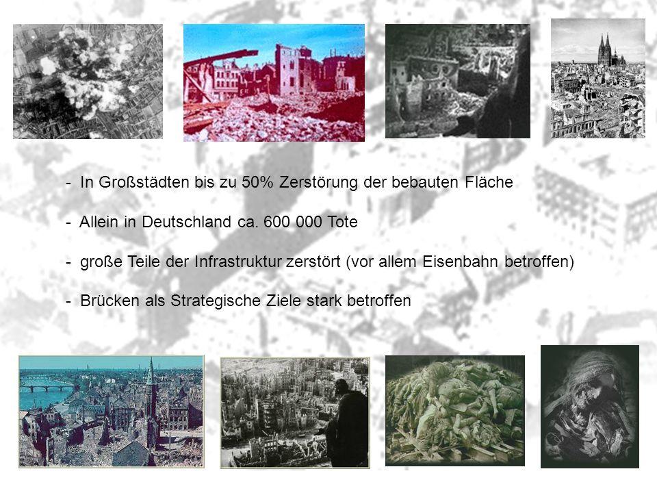 In Großstädten bis zu 50% Zerstörung der bebauten Fläche