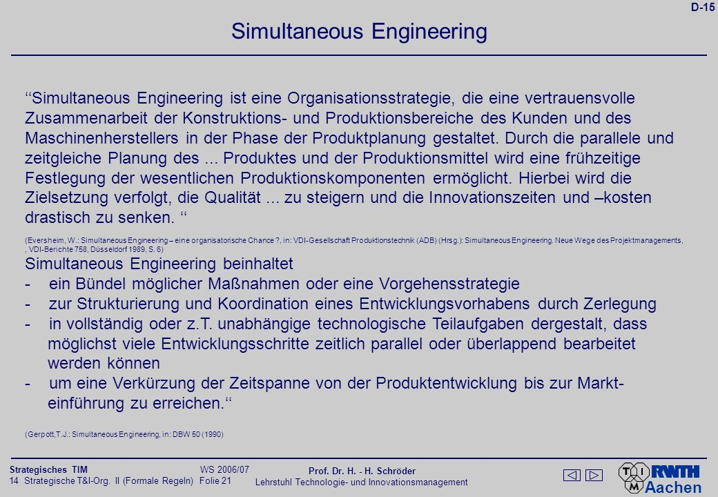 Kernelemente des Simultaneous Engineering