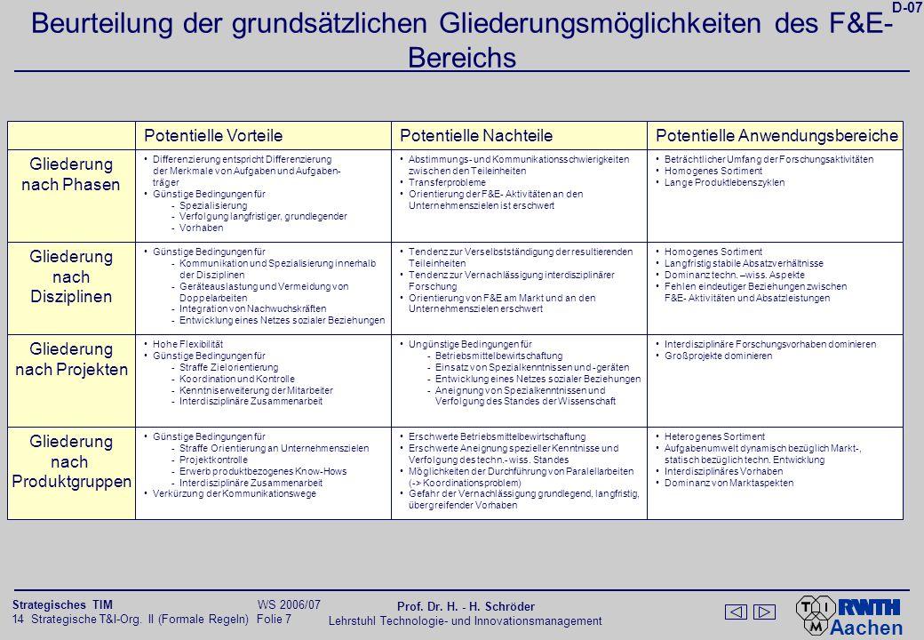 Kriterien für die Innenstrukturierung und ihre Wirkungen