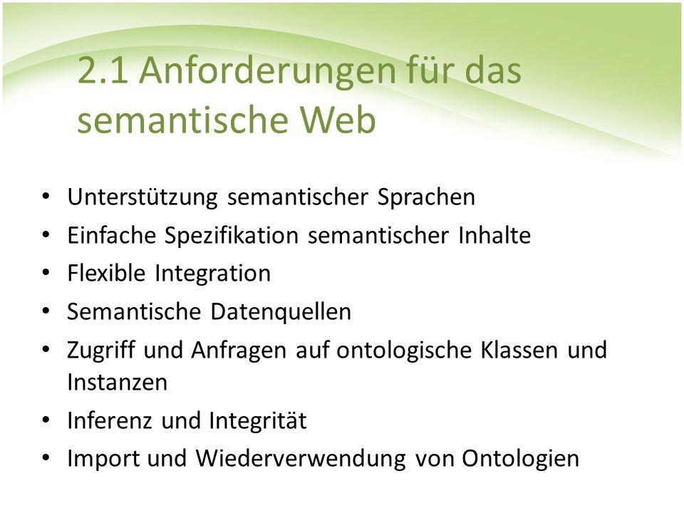 2.1 Anforderungen für das semantische Web