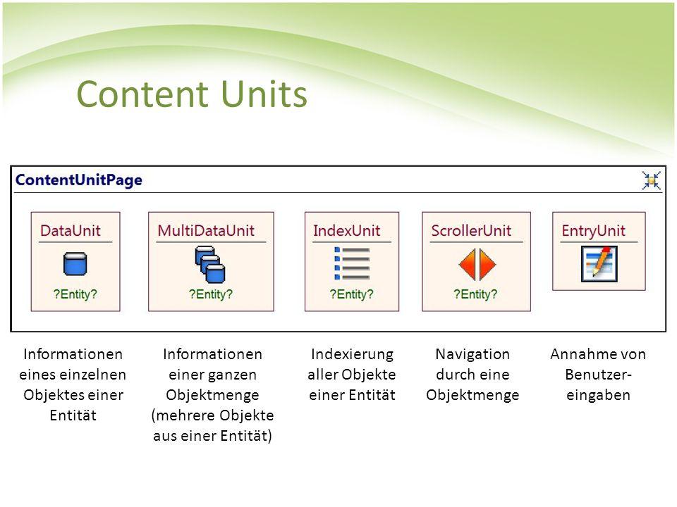 Content Units Informationen eines einzelnen Objektes einer Entität