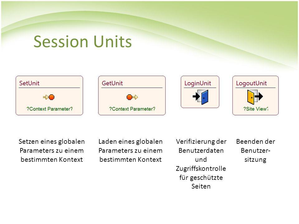 Session Units Setzen eines globalen Parameters zu einem bestimmten Kontext. Laden eines globalen Parameters zu einem bestimmten Kontext.