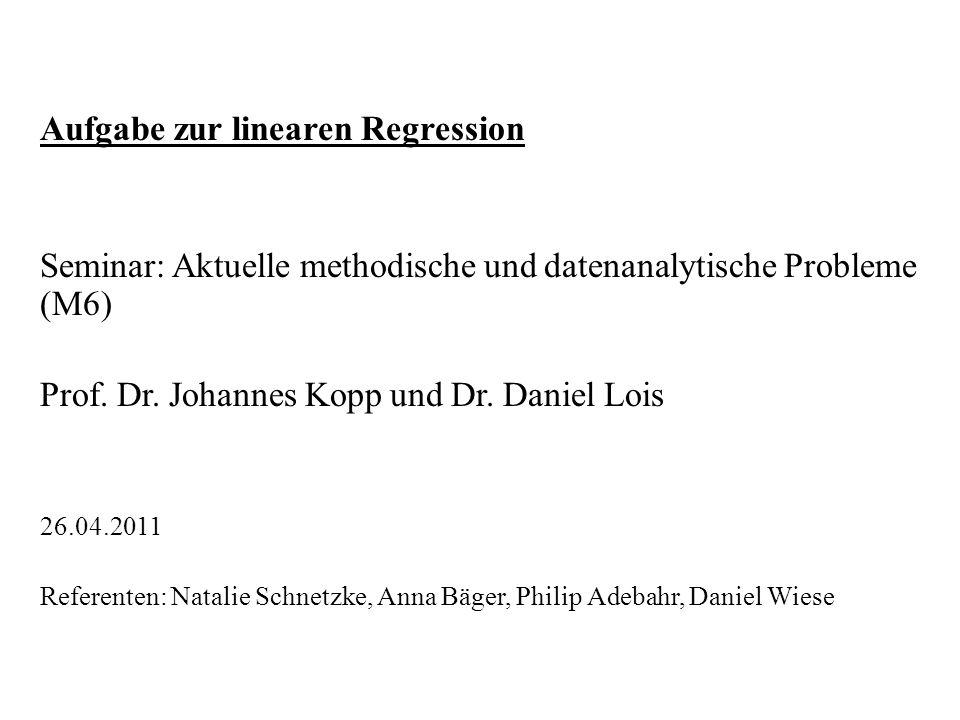 Aufgabe zur linearen Regression