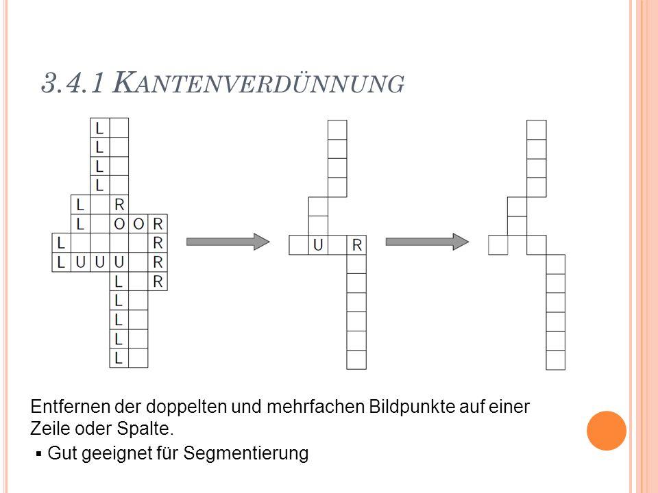3.4.1 Kantenverdünnung Entfernen der doppelten und mehrfachen Bildpunkte auf einer. Zeile oder Spalte.