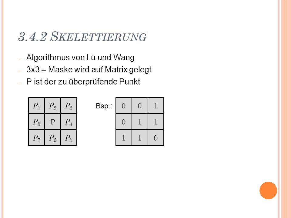 3.4.2 Skelettierung Algorithmus von Lü und Wang