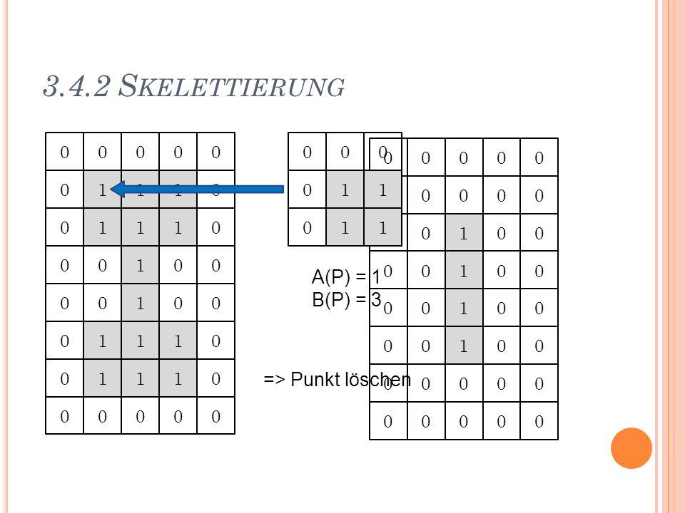 3.4.2 Skelettierung 1 1 1 A(P) = 1 B(P) = 3 => Punkt löschen