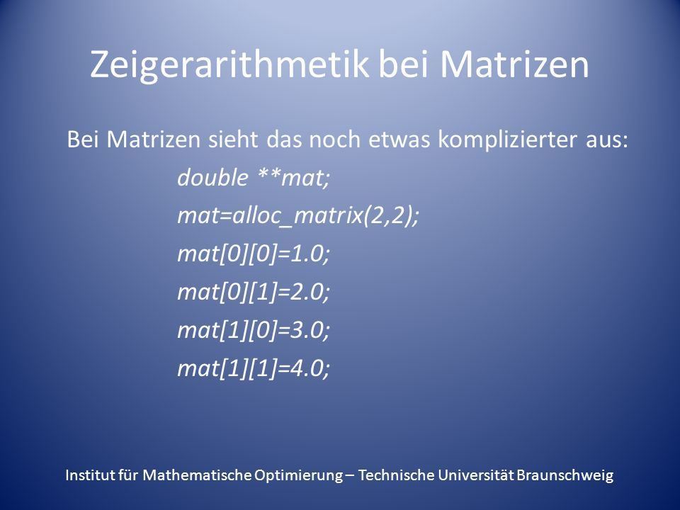 Zeigerarithmetik bei Matrizen