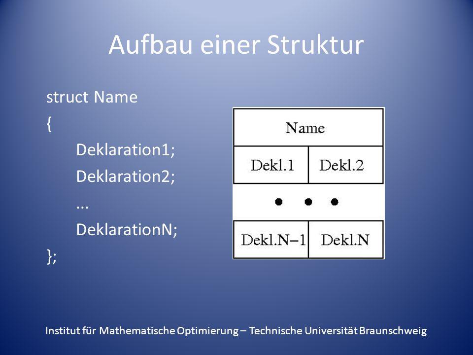 Aufbau einer Struktur struct Name { Deklaration1; Deklaration2; ... DeklarationN; };