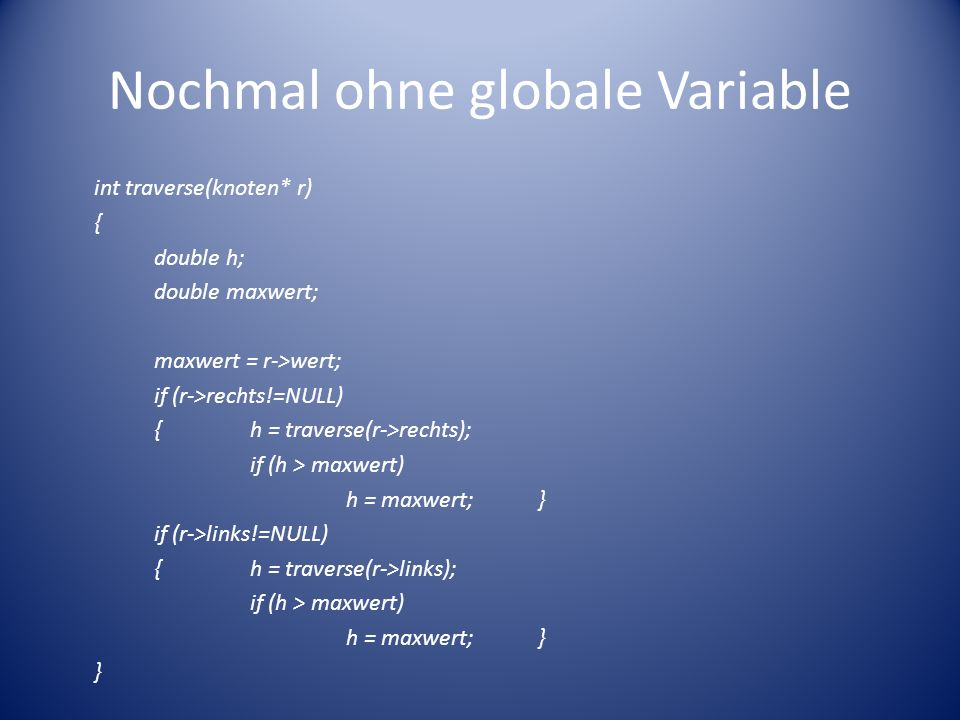 Nochmal ohne globale Variable