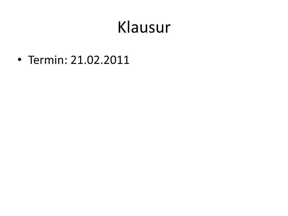 Klausur Termin: 21.02.2011