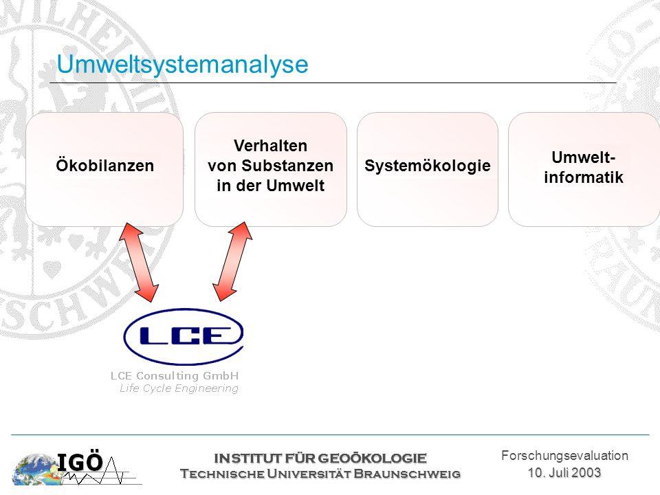 Umweltsystemanalyse Ökobilanzen Verhalten von Substanzen in der Umwelt