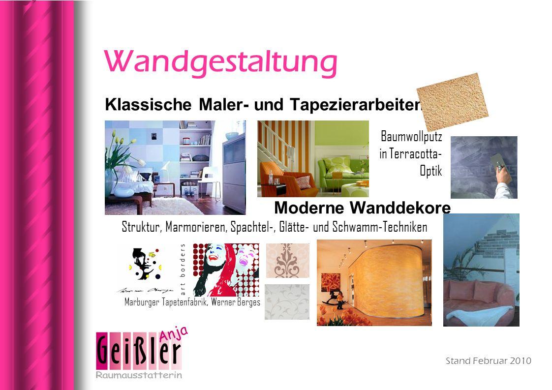 Wandgestaltung Klassische Maler- und Tapezierarbeiten