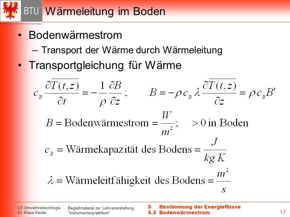 Transportgleichung für Wärme