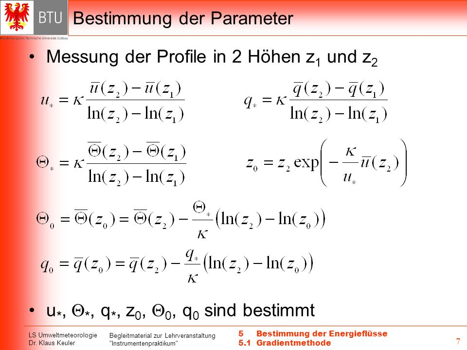 Bestimmung der Parameter
