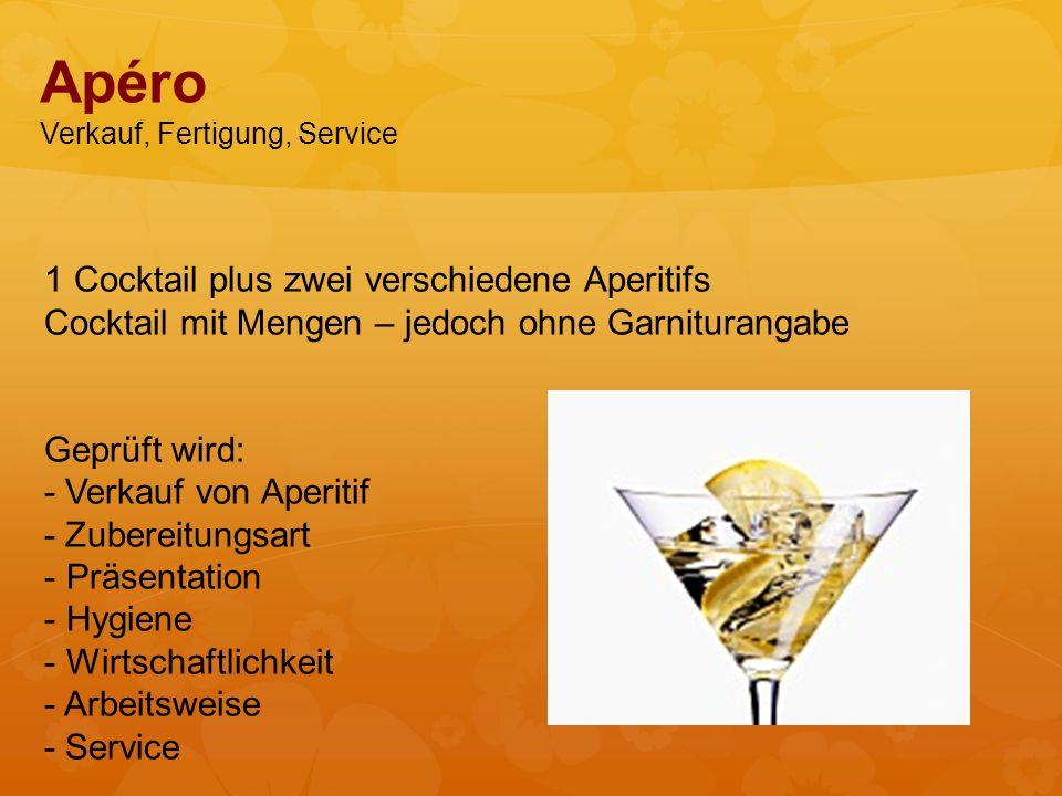Apéro Verkauf, Fertigung, Service