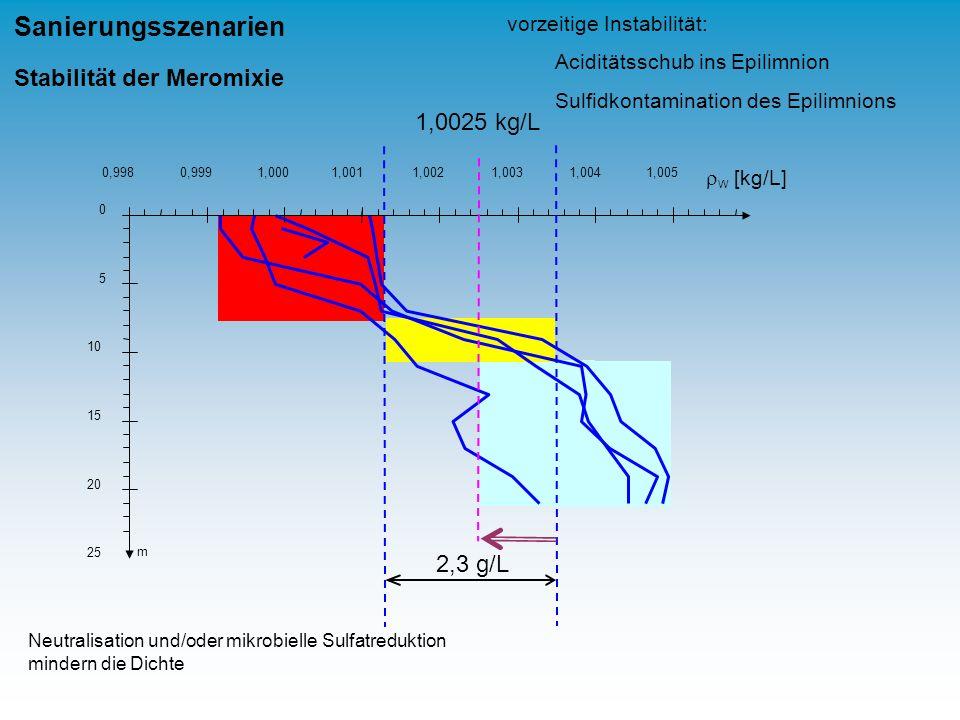 Sanierungsszenarien Stabilität der Meromixie 1,0025 kg/L 2,3 g/L
