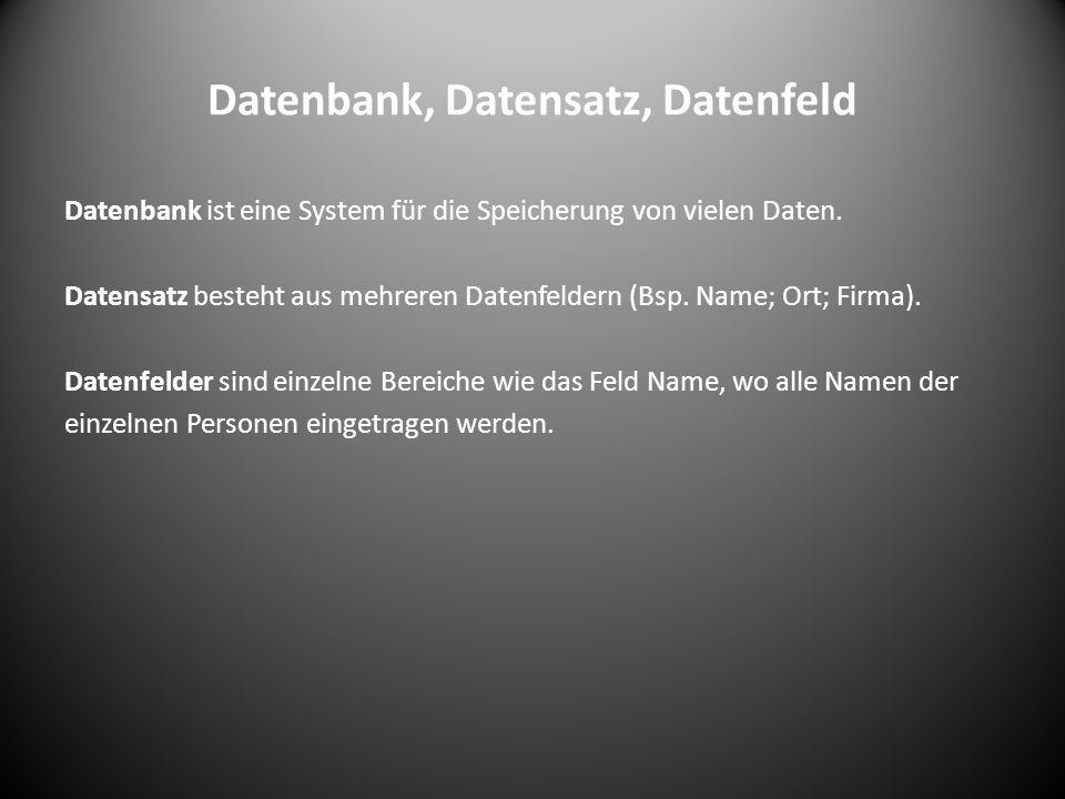 Datenbank, Datensatz, Datenfeld